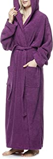 Pacific - Hooded Bathrobe Full Length for Women's Men's 100% Cotton Terry Towelling Dressing Gown Ankle Length for Spa Gym...