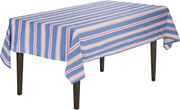 LinenTablecloth Blue Multi-Striped Rectangular Cotton Tablecloth, 60 x 84-Inch