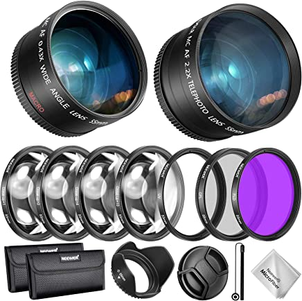 Neewer 55 毫米镜头和滤镜配件套件,适用于 Nikon AF-P DX 18-55 毫米和精选索尼镜片:0.43 倍广角镜片,2.2XTelephoto 镜头、UV/CPL/FLD/滤镜和微距滤镜套装,镜头罩、帽袋等