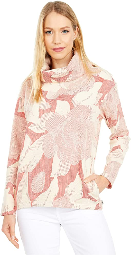 Cranberry Oversized Floral Jacquard