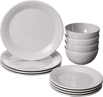 KATE SPADE Willow Drive8482 12-Piece Dinnerware Set, 17.75 LB, Taupe/Grey