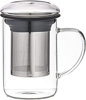 LEAF & BEAN Seychelles Tea Mug with Infuser, Clear/stainless Steel/coal, DLE0051BK