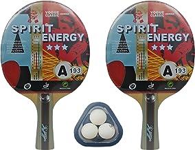 Kounga Unisex Giant Dragon 2 x Spirit Energie 3 sterren 3 tafeltennis-set (2 batjes en 3 ballen), rood/zwart, eenheidsmaat