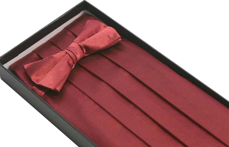 Classy Burgundy Cummerbund and Bow Tie Set with Box