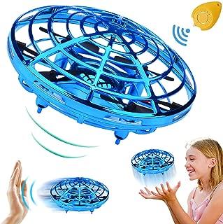 飞球迷你无人机遥控直升机手动控制红外感应飞行玩具,带 2 档速度自动避免障碍 360°旋转 LED 灯儿童玩具圣诞生日礼物 男孩女孩礼物 mini quadcopter drone 4.8 x 4.8 x 2.8 inches A-蓝色