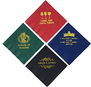 Game of Thrones Inspired Napkins Cocktail Beverage Drink Party Paper 20 Ct. 5 Inch. 4 Types