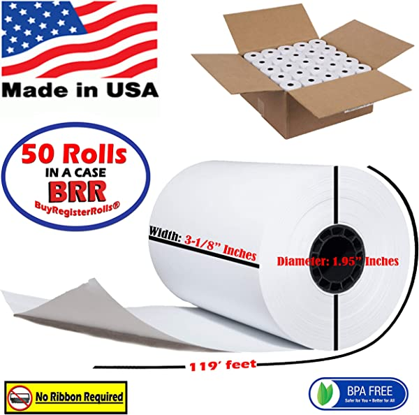 Super Value Pack 50 First Data 3 1 8 X 119 1 Ply Thermal Paper Rolls BPA Free From BuyRegisterRoll