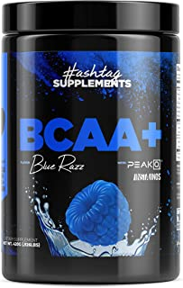 Hashtag Supplements Intra Workout BCAA Hydration Powder - Blue Raspberry with Patented Vegan Branched Chain Amino Acids, PeakO2 and Electrolyte Blend for Muscle Recovery Stamina and Athletic Endurance