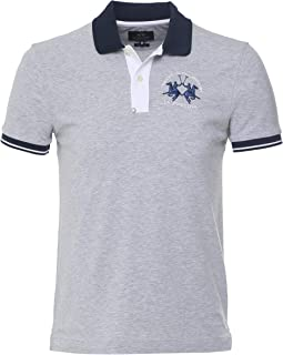 La Martina Men's Slim Fit Contrast Trim Polo Shirt Grey