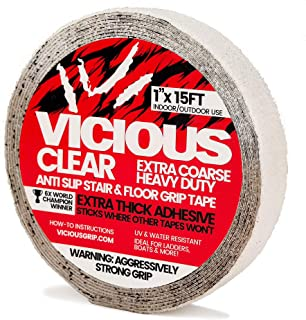 Vicious Clear Extra Coarse Heavy Duty Anti Slip Safety Traction Tape   1 Inch x 15 Feet   Indoor Outdoor Industrial Commercial Use   Waterproof, Oil Resistant, Durable