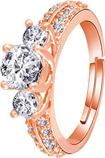 I Jewels Silver Plated Elegant CZ American Diamond Adjustable Ring For Women