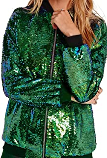 Women's Mermaid Sequin Lightweight Zipper Bomber Jacket