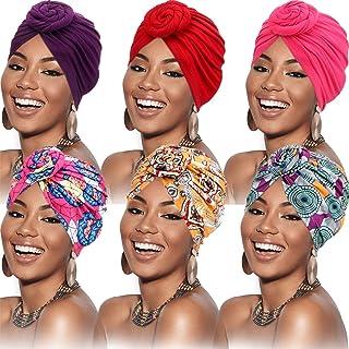 6 Piezas Turbantes para Mujer Turbante Africano Gorro Envoltura de Cabeza con Nudo Pre-Atado de Flor