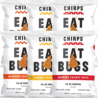 Chirps Cricket Chips Variety Pack (Cheddar + Sriracha), Gluten-free, High Protein - 1.25 Oz (Pack of 6)
