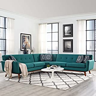Modway Engage Mid-Century Modern Upholstered Fabric L-Shaped Sectional Sofa In Teal