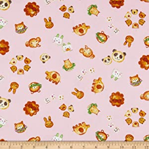 E. E. Schenck Kyraben Food Animals Oxford Toss Fabric, Light Pink, Fabric By The Yard
