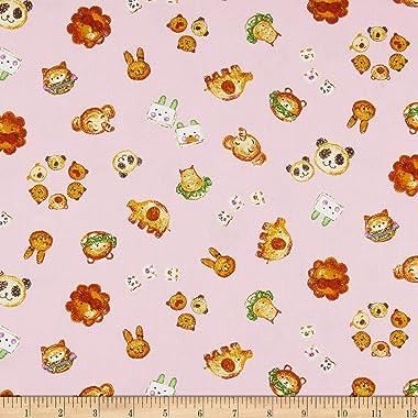 E. E. Schenck Kyraben Food Animals Oxford Toss Fabric, Light Pink, Fabric By The Yard