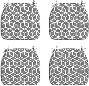 """LVTXIII Outdoor/Indoor Seat Cushions Patio Chair Pads with Ties, Fade-Resistant Chair Cushions for Home Office and Patio Garden Furniture Decoration 16""""x17"""", Cube Grey, Set of 4"""