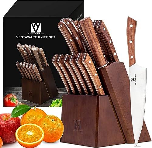 popular Knife Sets,Vestware Kitchen Knife Set with Wooden Block high quality , 16-Piece Knife Set with Professional Knife Sharpener,Chef Knife and Steak online sale Knives Set sale