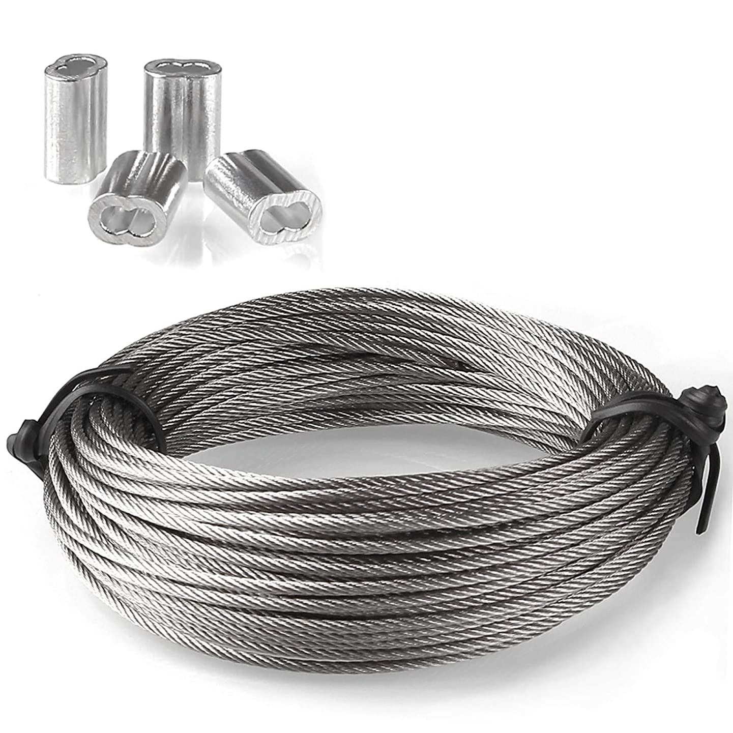 A+Selected 2 Pack 304 Stainless Steel Wire Rope Cable, 1/16 inch Dia, 24.6 Feet Each, 7x7 Wire Rope Designed, Bonus 8 Pcs Aluminum Crimping Loop Sleeve