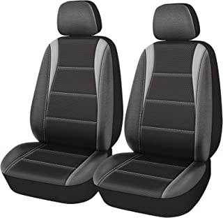 PIC AUTO Car Seat Covers, Front Seat Only, 3 Layered Mesh with PU Leather, Airbag Compatible, Fit Most Cars, SUVs, Trucks and Vans,Low Back,Black/Gray(4PCS)