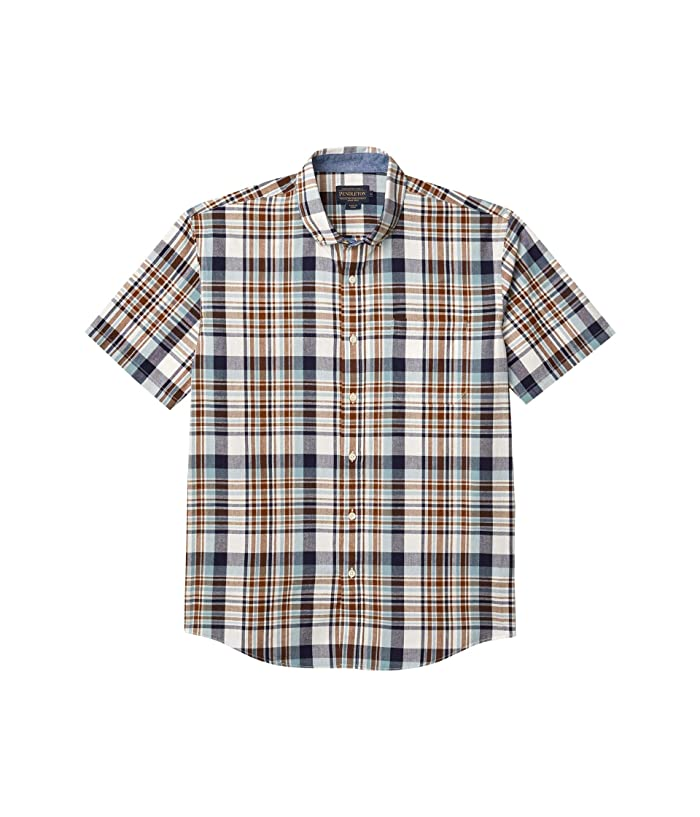 1960s – 70s Mens Shirts- Disco Shirts, Hippie Shirts Pendleton Short Sleeve Madras Shirt BlueBrown Plaid Mens Clothing $49.21 AT vintagedancer.com
