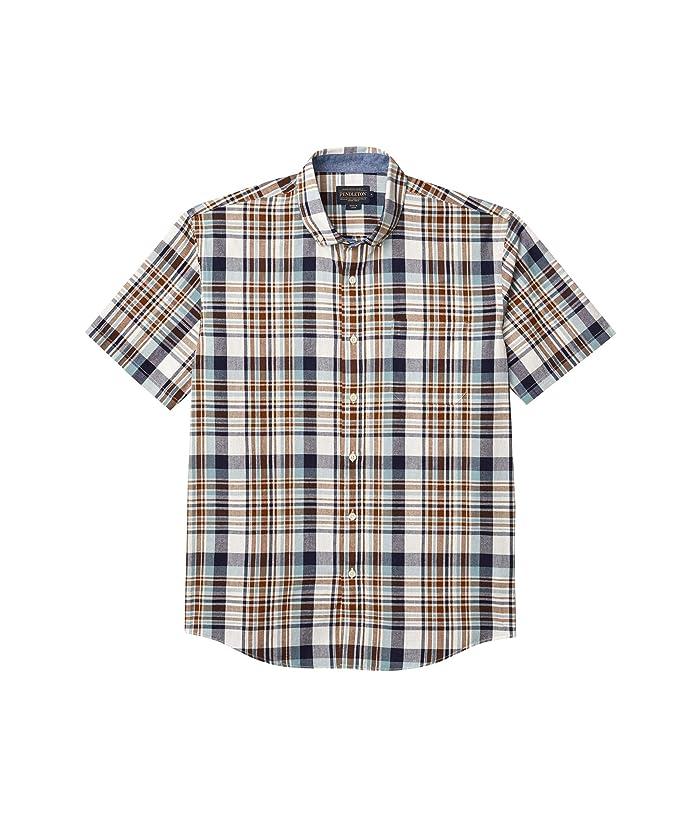 Mens Vintage Shirts – Retro Shirts Pendleton Short Sleeve Madras Shirt BlueBrown Plaid Mens Clothing $62.55 AT vintagedancer.com