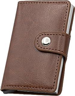 Tarjetero para tarjetas de crédito con botón Pop-up, cartera para hombre Slim – Tarjetero con protección Rfid, mini portat...