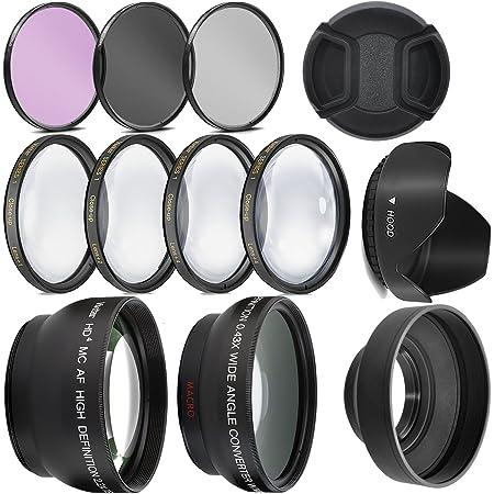 58mm Compatible UV + Polarizer + FLD for Canon EOS Rebel T6 80D 70D 3-Pcs Hi Def Filter Kit