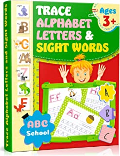 Trace Alphabet Letters and Sight Words: Writing Skills for Kindergarten/Preschool. Activity Workbook for Kids, Preschool Practice Handwriting Workbook, Letter Tracing Book, Alphabet Writing Practice