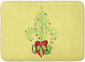 "Caroline's Treasures Christmas Tree Fleur de lis Floor Mat, 19"" x 27"", Multicolor"