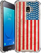 Shockproof Slim Hybrid Case w/Air-Pocket Corners+Easy Grip Bumpers Cover Compatible with Samsung Galaxy J2 / J2 Core (SM-J260T) 2018 Release - American Flag
