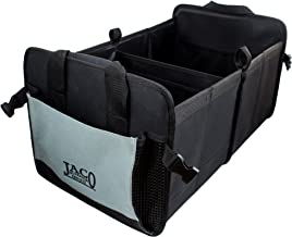 JACO CargoPro Trunk Organizer for Car, Truck, and SUV - Super Heavy Duty Collapsible Nonslip Vehicle Storage Container (Black/Grey)