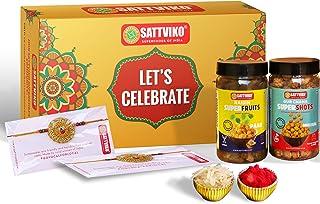 Sattviko Elite Rakhi Gift Hamper - 1 Artisan Crochet Rakhi + 1 Designer Rakhi with Roli + Gur Chana + Superfruit