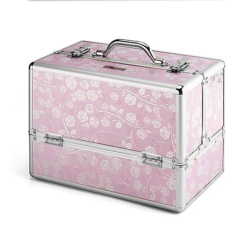 AMASAVA Makeup Box, Storage Beauty Box 4 Trays Make up Nail Jewelry Box Extra Large
