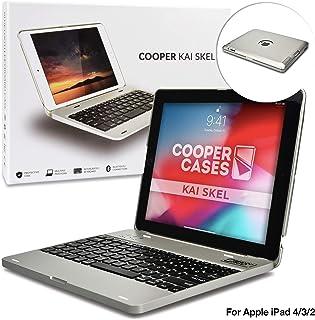 Funda con Teclado para Apple iPad 2/3/4, Cooper Kai SKEL P1 Carcasa con Teclado inalámbrico Bluetooth para portátil, Macbook, batería Externa Recargable Apple iPad 2/3/4 Pulgadas Plata