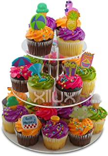CUPCAKE STAND 3-TIER for Birthday, Wedding, Anniversary and other Occasions to display your small cakes, brownies, tarts, cookies, eclair, macarons, other desserts - Round, Acrylic Dessert Stand