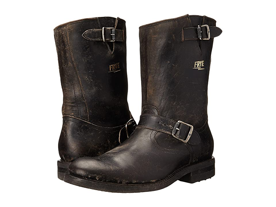 Frye Stone Engineer (Black Polished Stonewash) Men