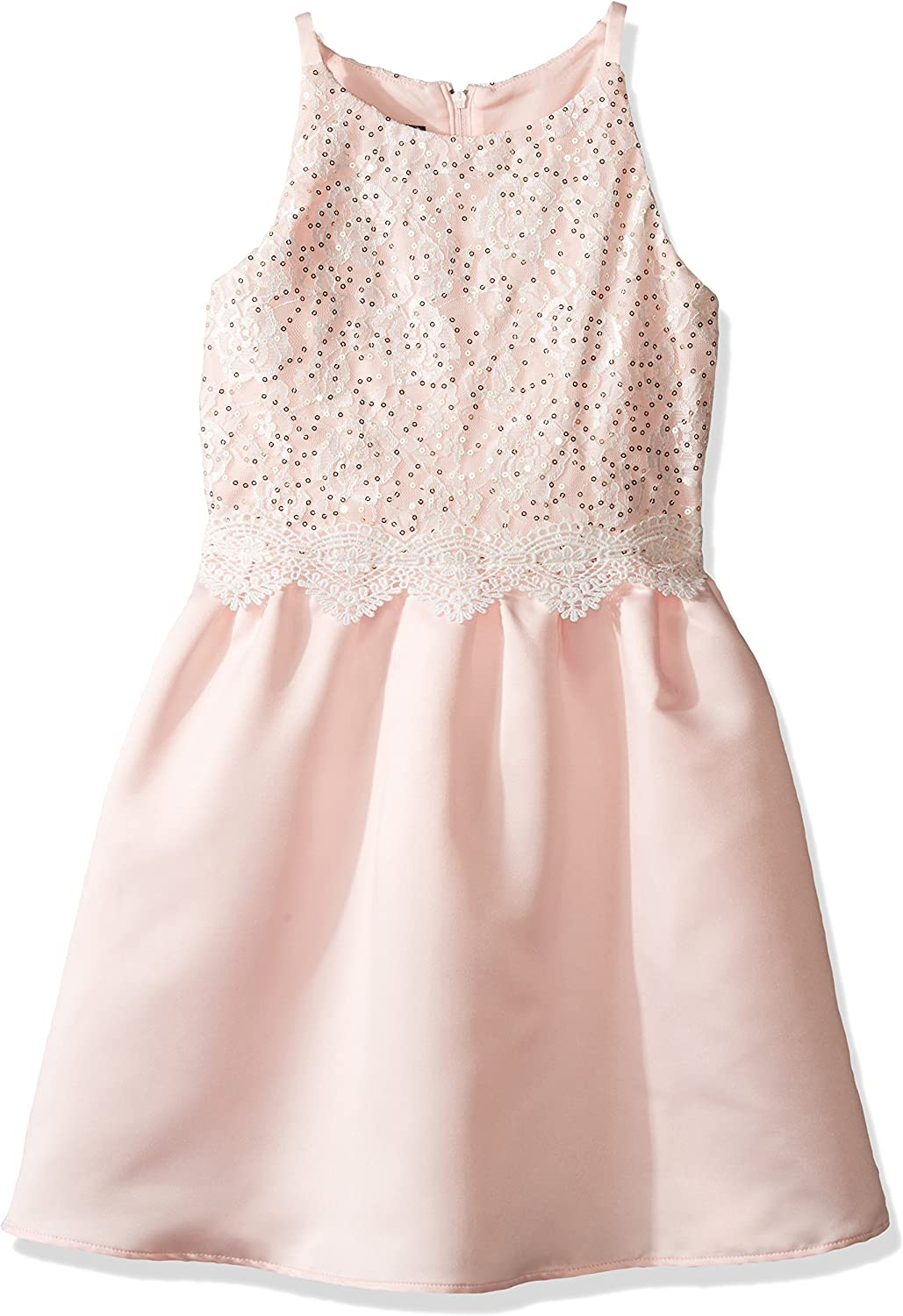 Amy Byer Girls' Big Sequin Bodice Fit and Flare Dress