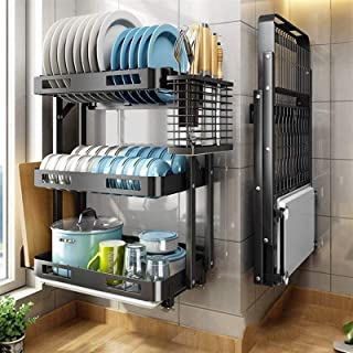 ZRB Séchoir à Vaisselle de Cuisine, Séchage à la Vaisselle Montage Mural, étagère de Rangement Suspendu à 3 Niveaux, étagè...
