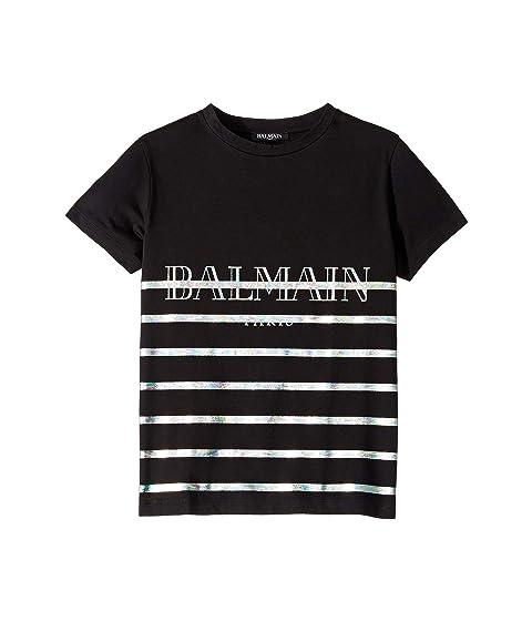 Balmain Kids Short Sleeve Striped Tee w/ Logo (Little Kids/Big Kids)