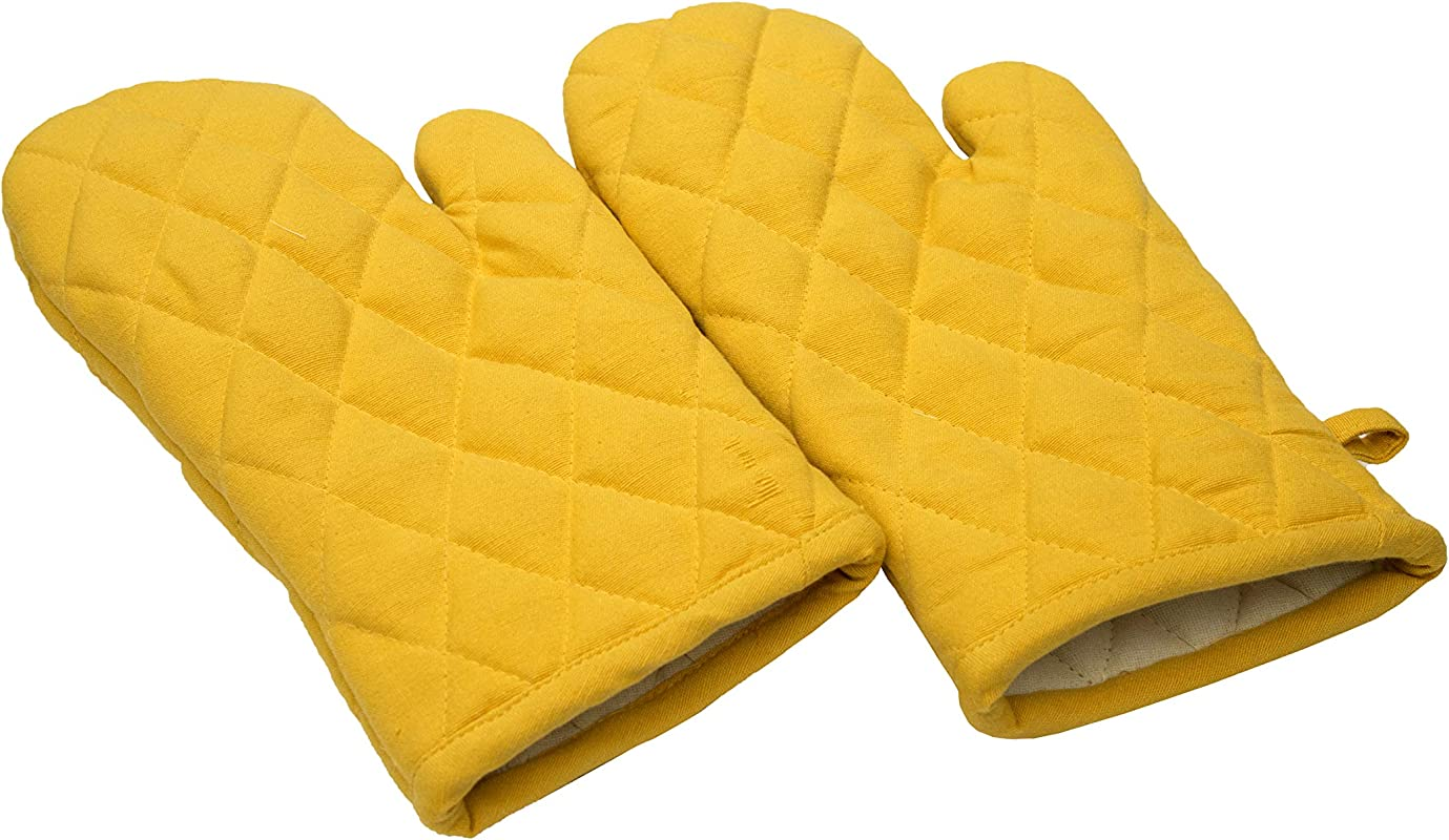 Oven Mitts Set Of 2 100 Cotton Of Size 7 X 12 Inches Premium Heat Resistant Kitchen Gloves Cotton Fabric Quilted Yellow Heat Resistant For Everyday Kitchen Cooking And Baking