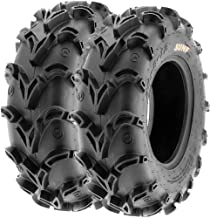 Pair of 2 SunF A050 AT 25x8-12 ATV UTV Deep Mud Terrain Tires, 6 PR, Tubeless