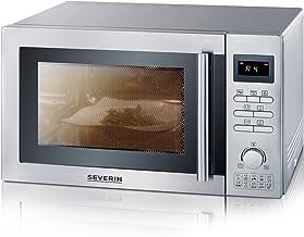 Severin MW 7868 Microondas con grill y convección, 900 W, 25 litros, Plata y negro