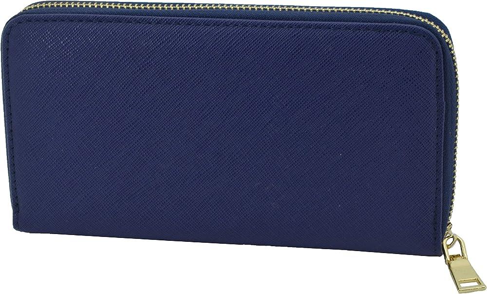 Gresel portafoglio per donna in similpelle porta carte di credito Blu 1 Cerniera