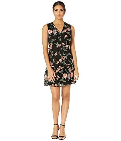 Sam Edelman Sleeveless Embroidery Mesh Dress (Black Multi) Women