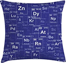 Ambesonne Periodic Table Throw Pillow Cushion Cover, Chemistry Elements in Abstract Style Science Classroom Backdrop, Decorative Square Accent Pillow Case, 18 X 18, Blue White