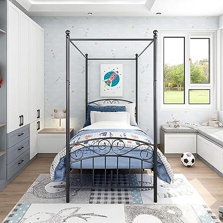 JURMERRY Canopy Lit en métal 90 x 200 cm avec tête de lit décorée et marchepied Style européen Acier robuste Parfait Noir
