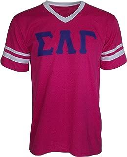 Mega Greek Womens Sigma Lambda Gamma Stripe Sleeve Jersey (Large, Pink)
