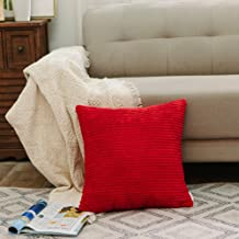 NATUS WEAVER Decoration Christmas Solid Red Soft Striped Velvet Corduroy Plush Throw Cushion Cover for Square Pillow (Red, 16 x 16 inch, 40 cm)